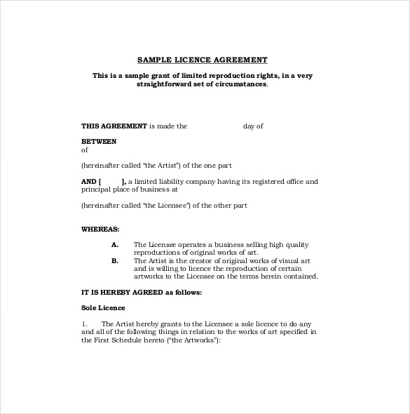 content license agreement template sample licensing agreement