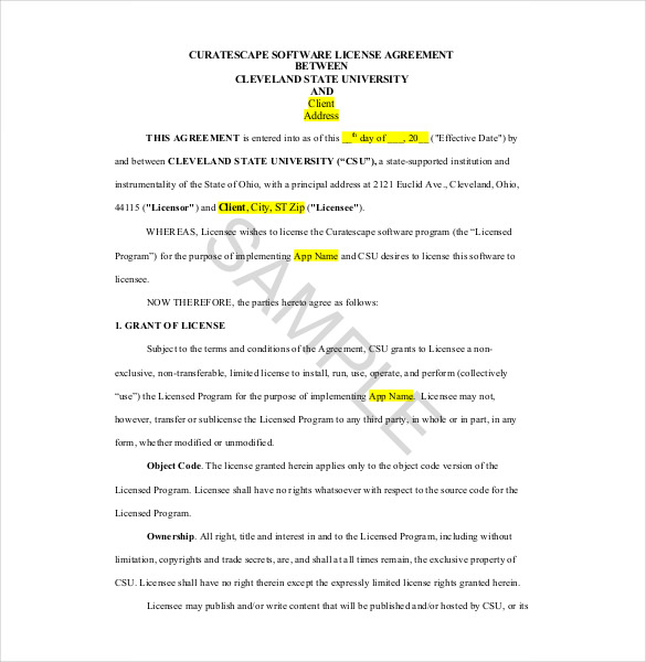 licensing agreement template sample licensing agreement template