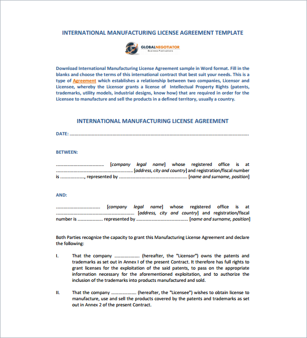 manufacturing license agreement template manufacturing license