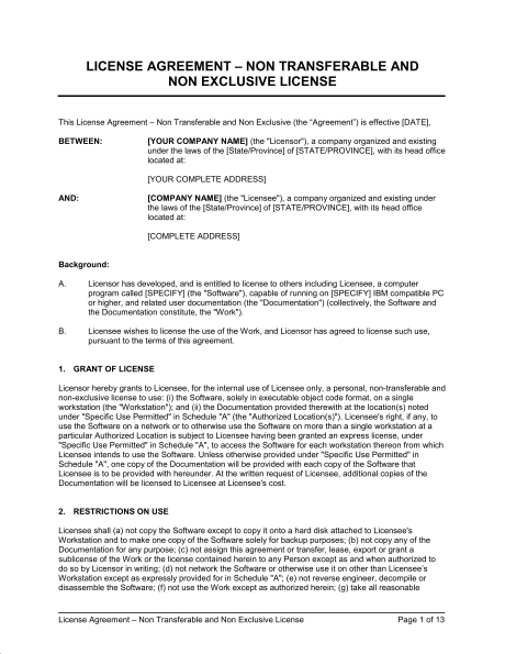 royalty free license agreement template free licensing agreement