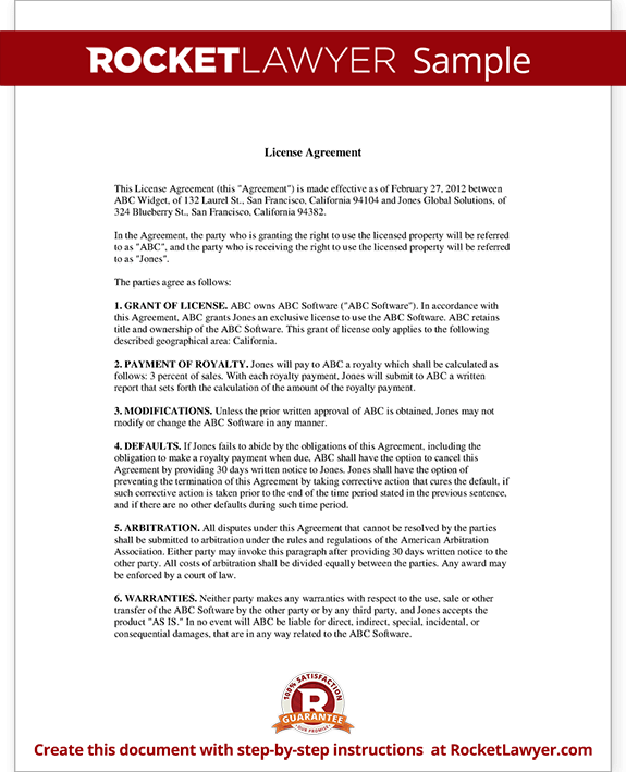 License Agreement Template | Rocket Lawyer