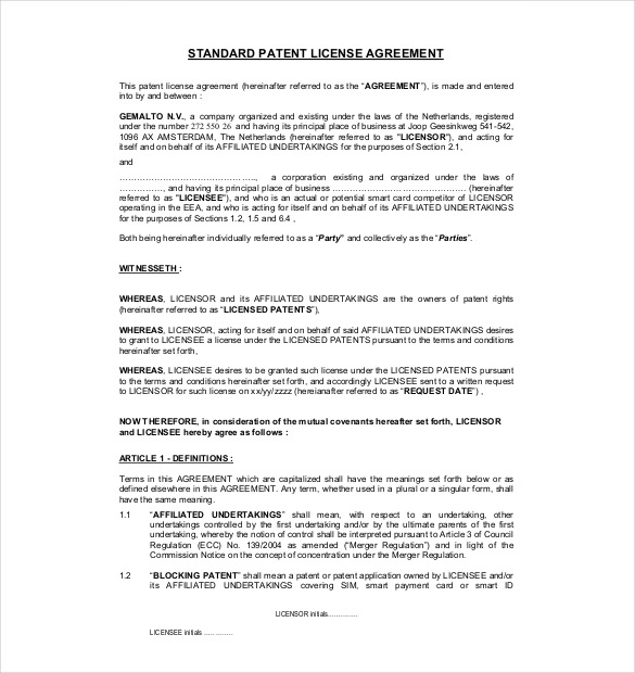 sample licensing agreement template sample licensing agreement