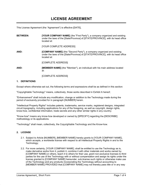 licensing agreement template license agreement short form template