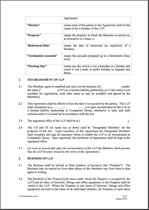 enabling agreement template llp agreement template limited