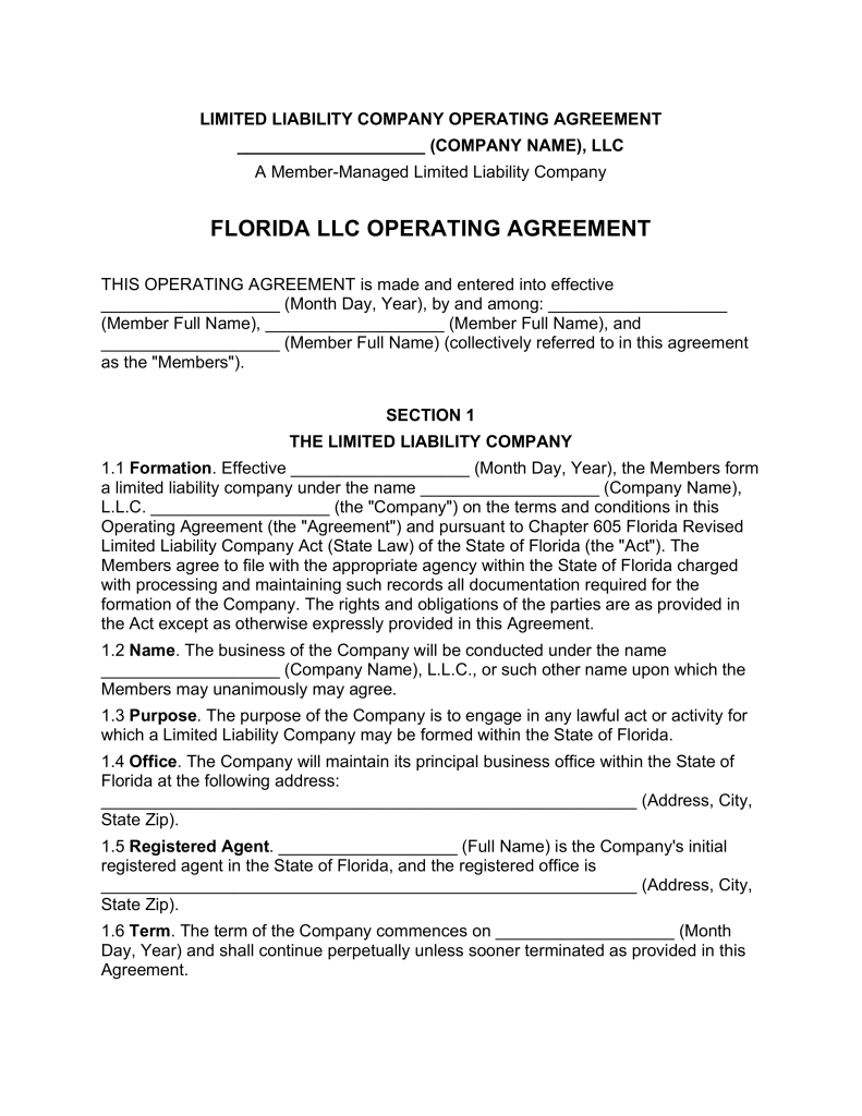 Florida Multi Member LLC Operating Agreement Form | eForms – Free