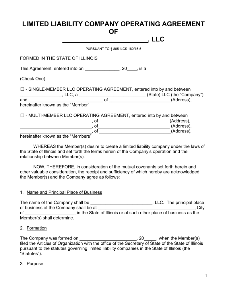 Free Illinois LLC Operating Agreement Forms Word | PDF | eForms