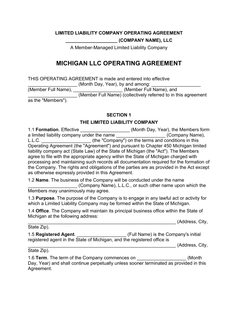 Michigan Multi Member LLC Operating Agreement Form | eForms – Free