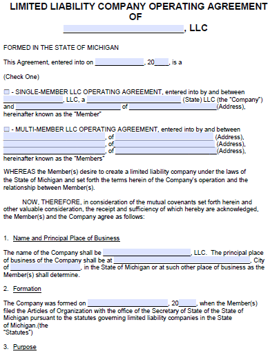 Free Michigan LLC Operating Agreement Template | PDF | Word |