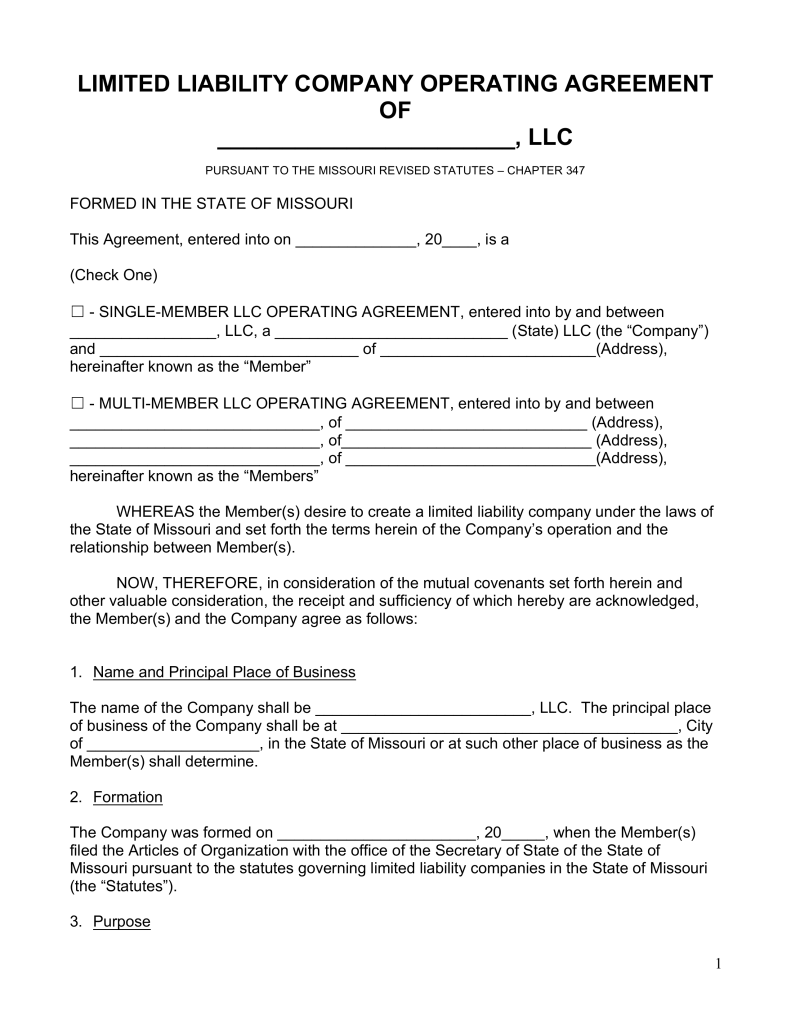 Free Missouri LLC Operating Agreement Forms PDF | Word | eForms