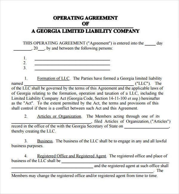 business operating agreement template business operating agreement