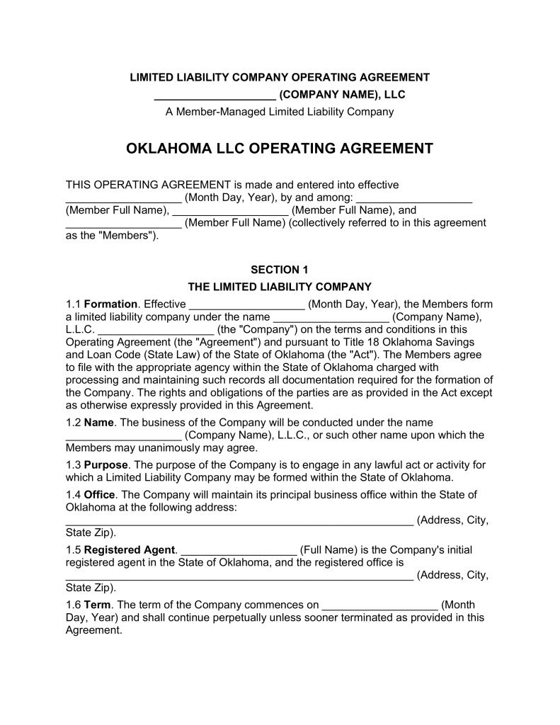 Oklahoma Multi Member LLC Operating Agreement Form | eForms – Free