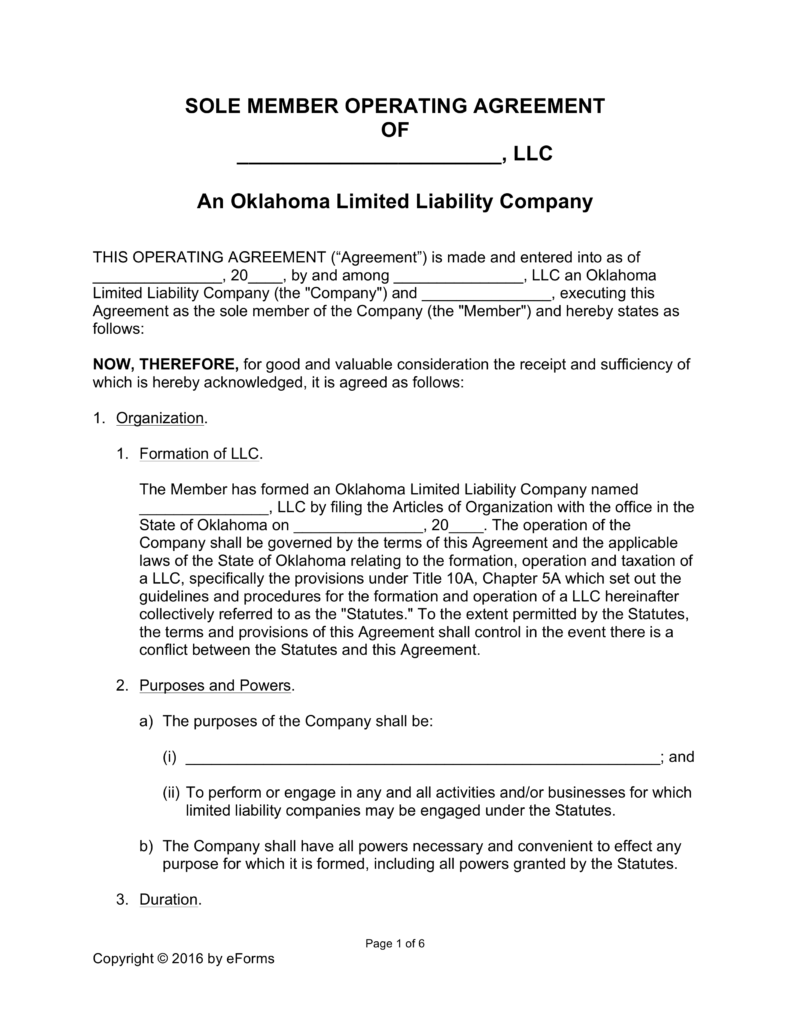 Free Oklahoma Single Member LLC Operating Agreement Form Word