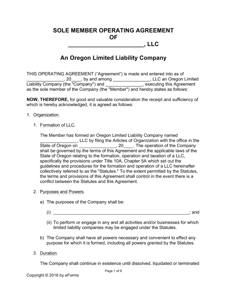 Free Oregon Single Member LLC Operating Agreement Form Word