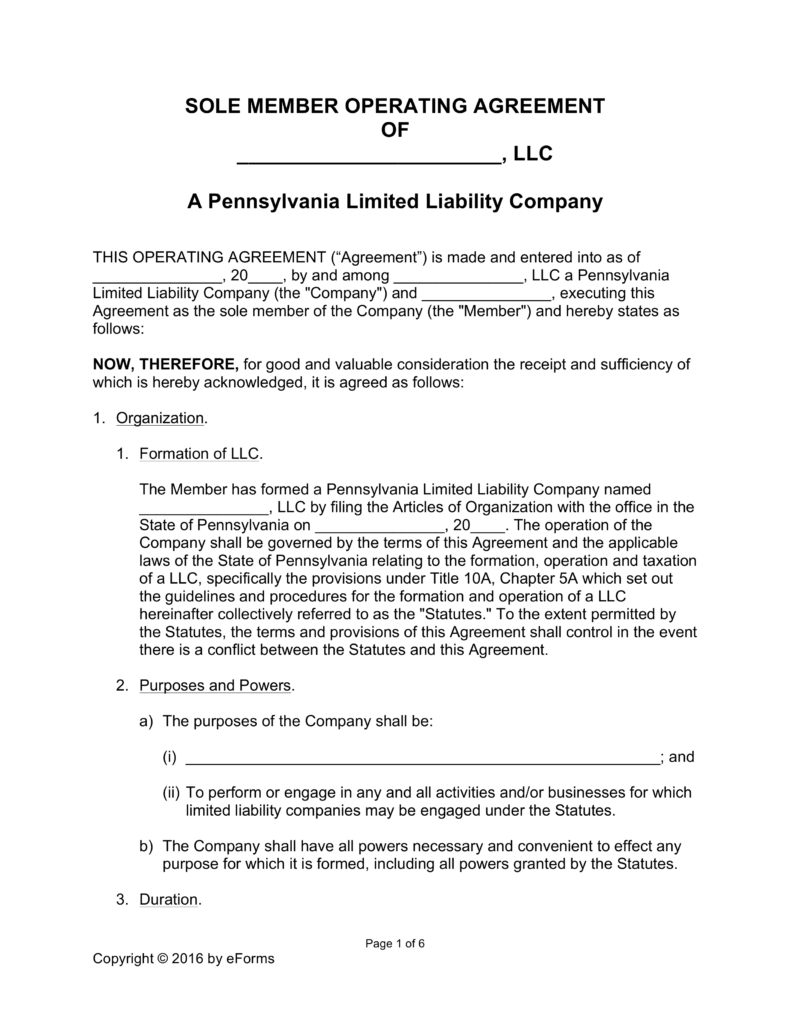 Free Pennsylvania Single Member LLC Operating Agreement Form