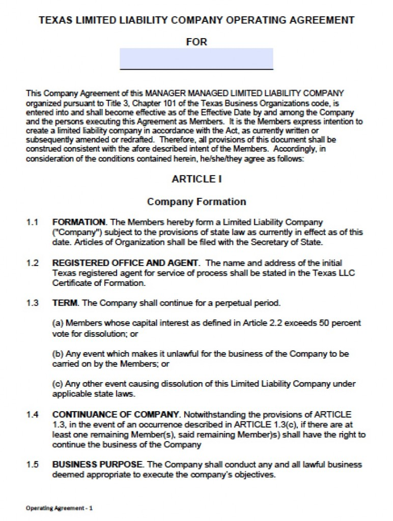 Llc Operating Agreement Sample Gtld World Congress - Corporation operating agreement template