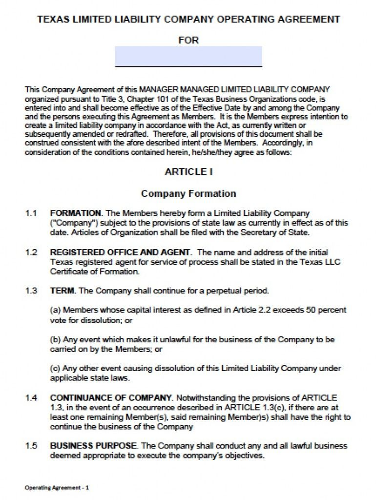 Download Texas LLC Operating Agreement Template llc partnership