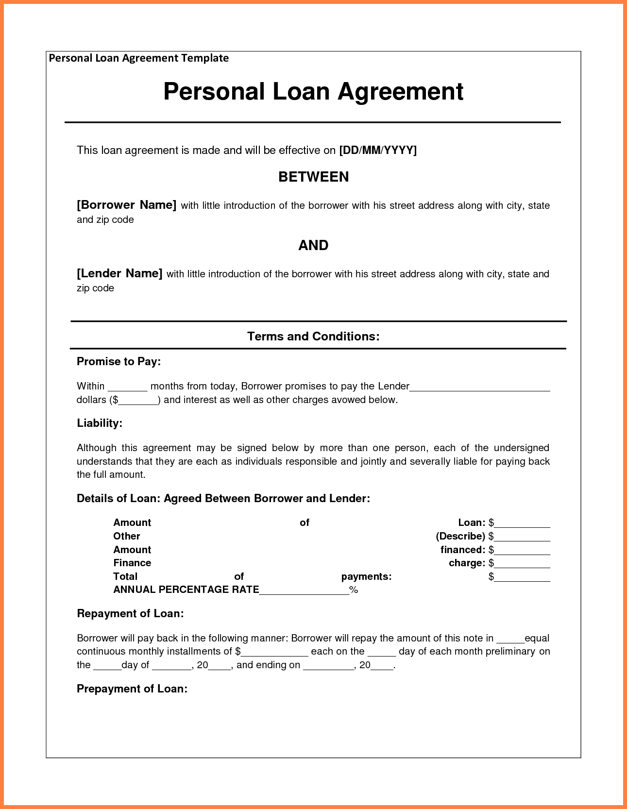 4+ personal loan agreement template between friends | Purchase