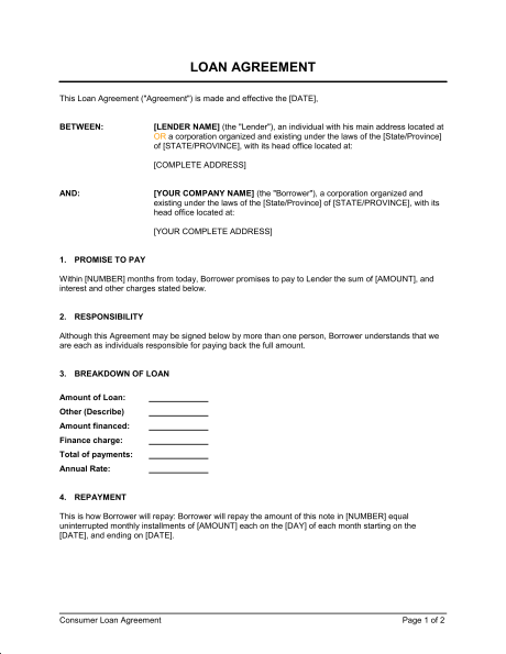 Loan Agreement Template & Sample Form | Biztree.com
