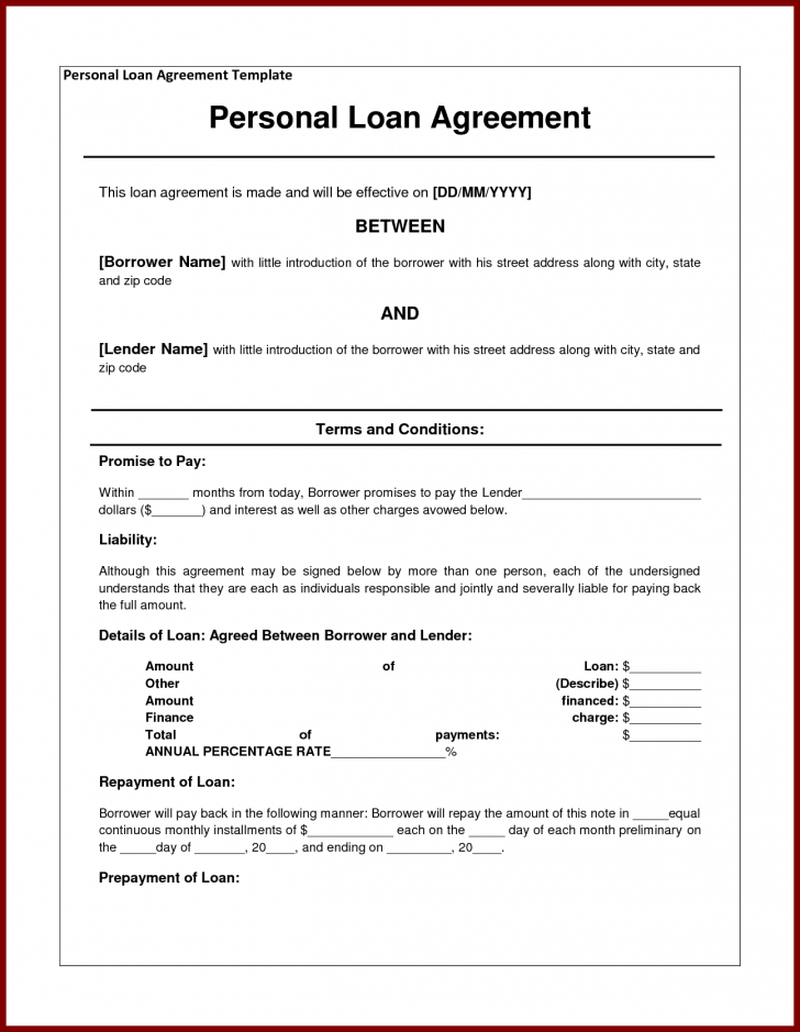 Sample note template for personal loan agreement doc legal