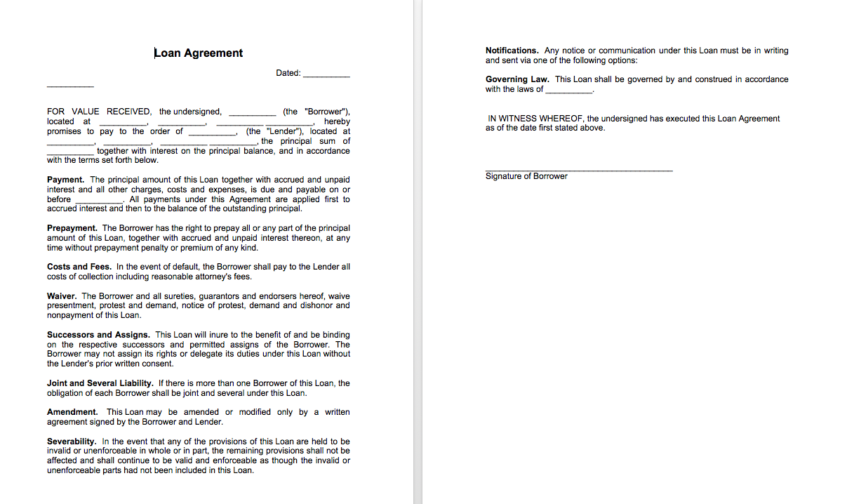 Sample of loan agreement between two parties | Top Form Templates