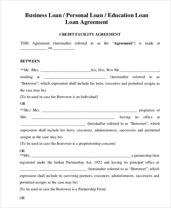 business loan agreement template template for a loan agreement