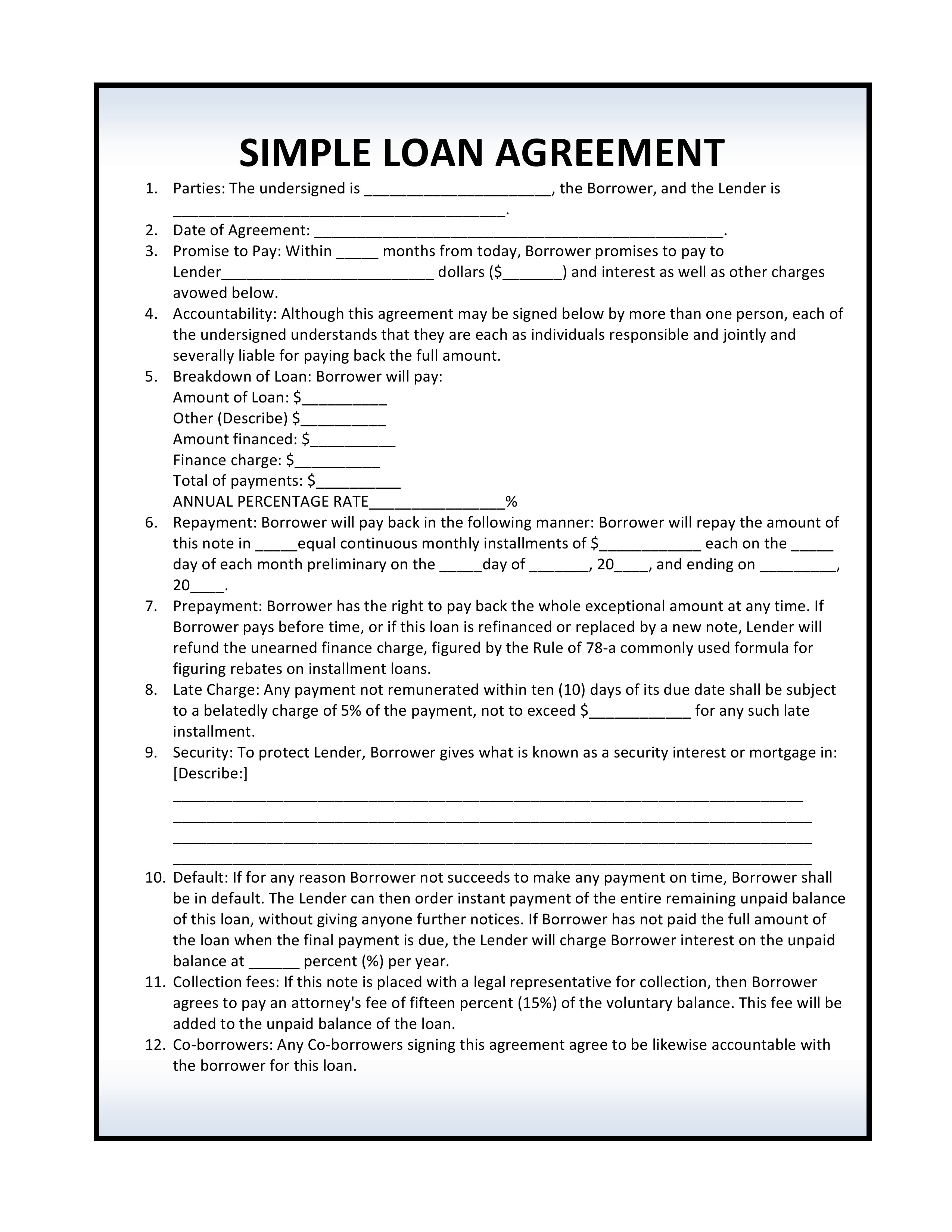 Free Simple Loan Agreement | PDF Template | Form Download
