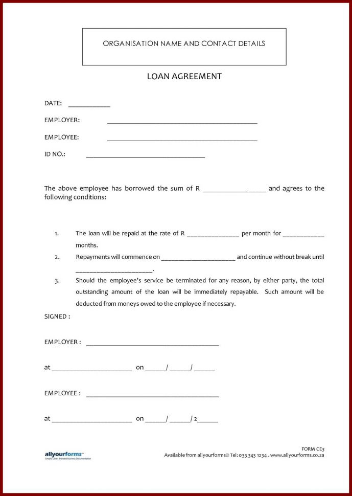 Printable Loan Agreement Forms Free Printable Loan Agreement