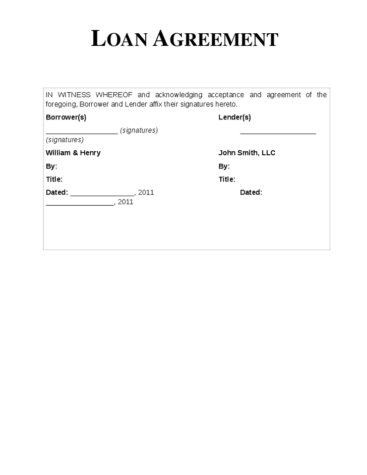loan agreement letter template sample of personal loan agreement