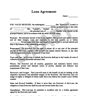 Loan Agreement FREE Sample, Template Word & PDF
