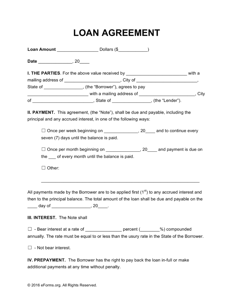 Free Personal Loan Agreement Template PDF | Word | eForms – Free