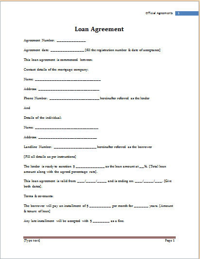 free loan agreement template word loan agreement template