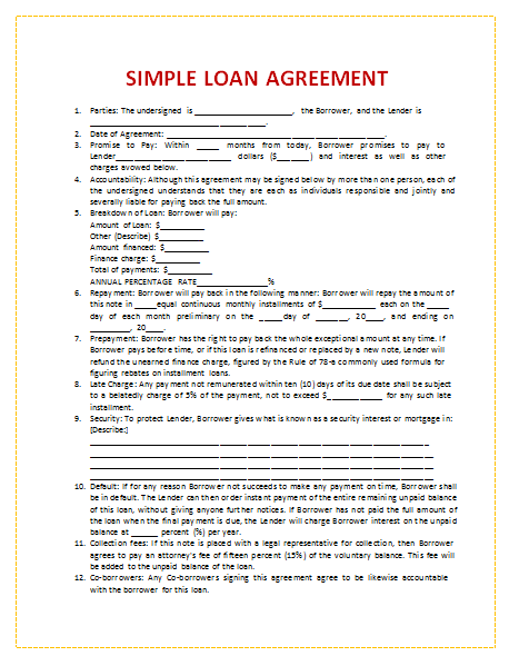 generic loan agreement template personal loan agreement template