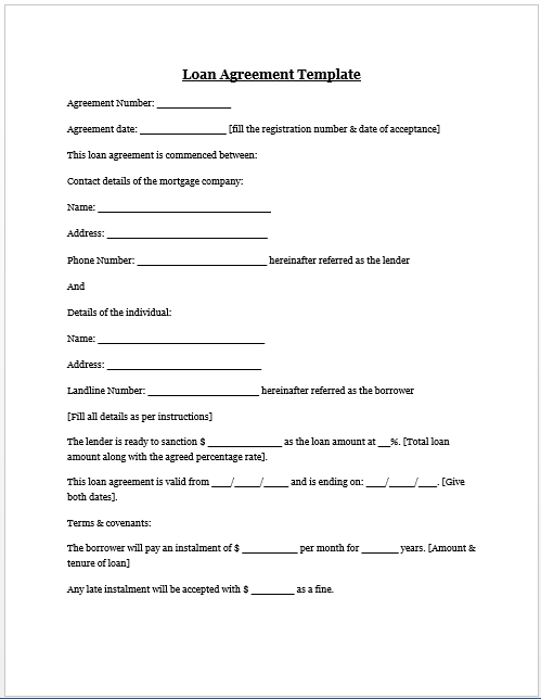personal family loan agreement template loan agreement template