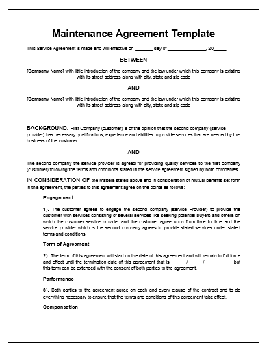 maintenance agreement template service agreement contract template