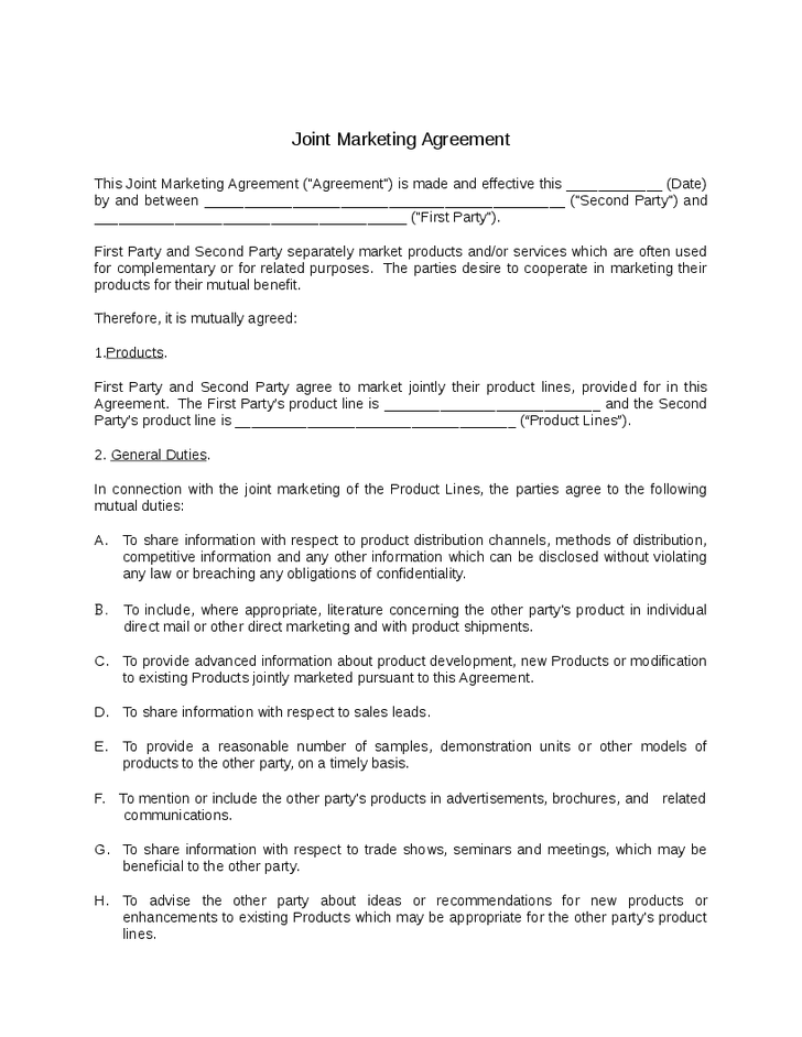 joint marketing agreement template joint marketing agreement