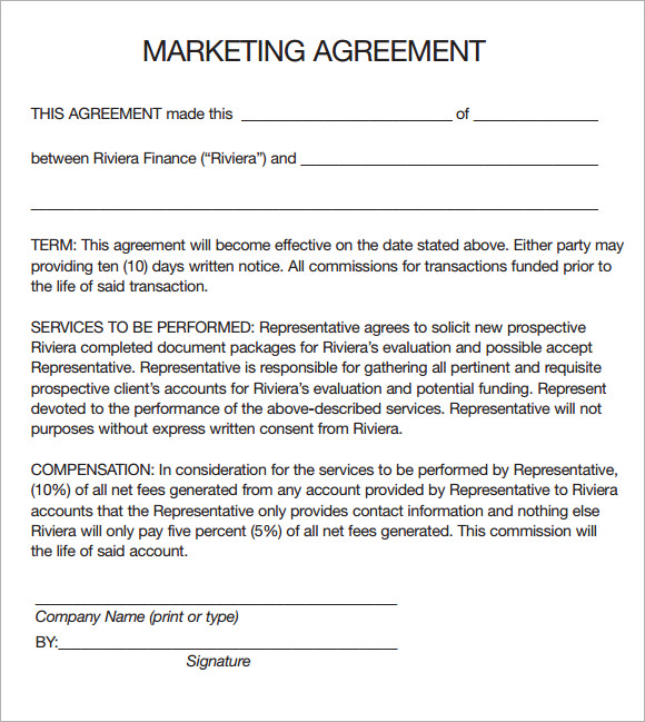 sales and marketing agreement template marketing agreement