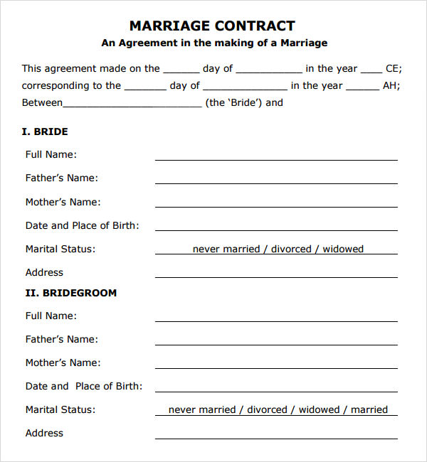 marriage agreement template free download marriage contract