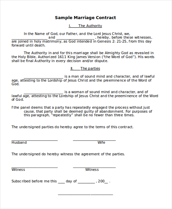 marriage agreement template sample marriage contract form 8 free
