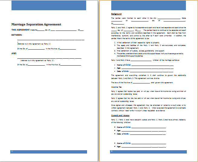 temporary separation agreement template trial separation agreement