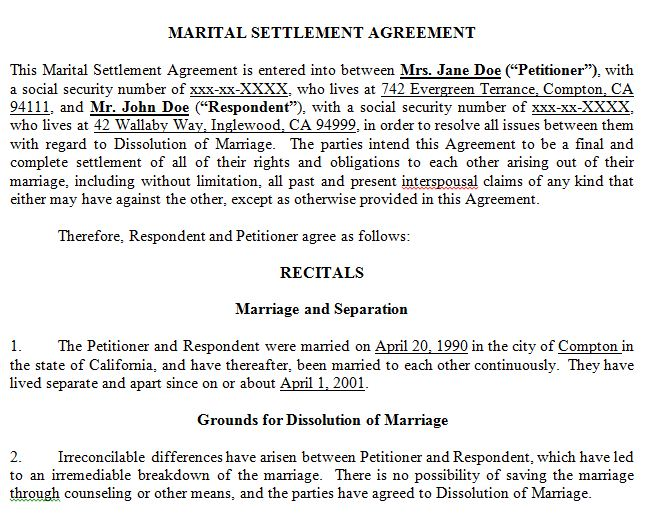 marriage settlement agreement template california marriage