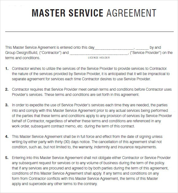 consultant services master agreement template master service