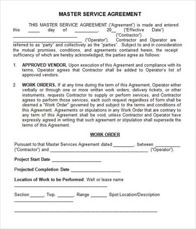 master service agreement template master agreement template basics