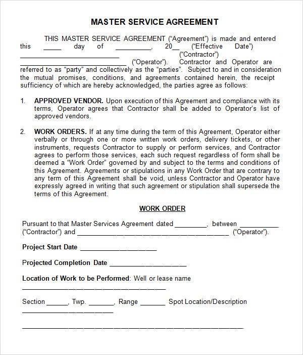 master services agreement template oil and gas master service