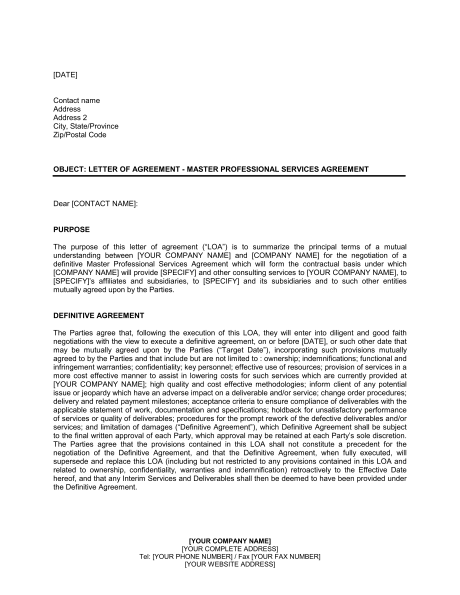 it master services agreement template master services agreement