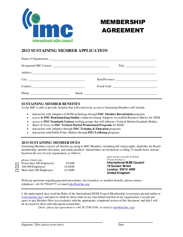 IMC MEMBERSHIP AGREEMENT
