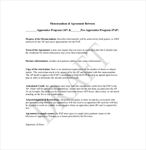 template memorandum of agreement memorandum of agreement template