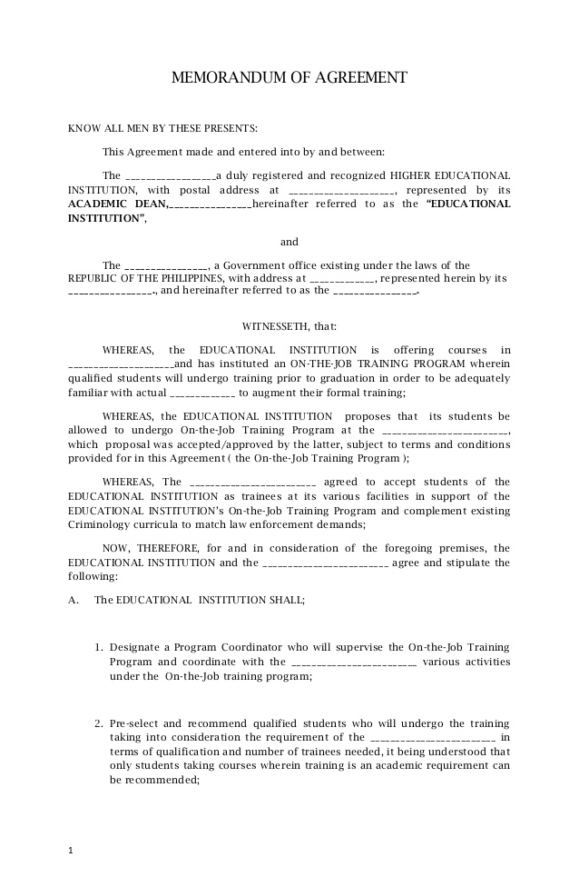 template of memorandum of agreement memorandum of agreement