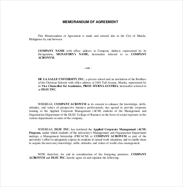 template memorandum of agreement 13 memorandum of agreement