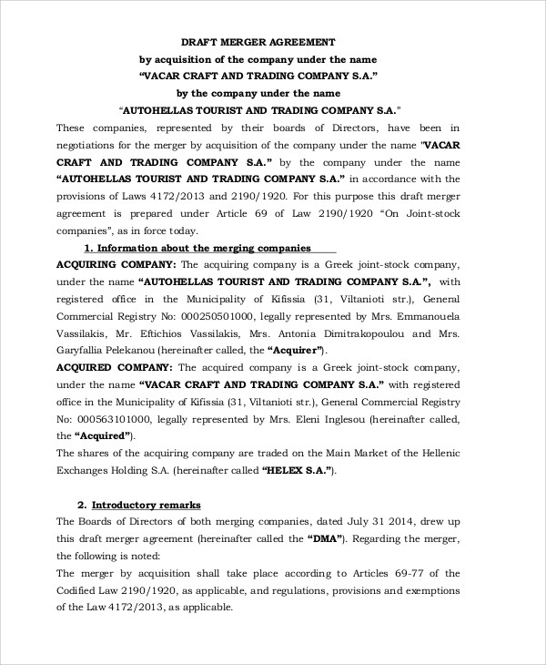 9 Merger Agreement Templates Free Sample, Example Format