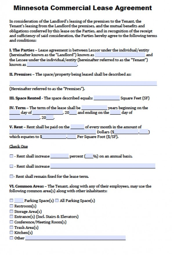 Free Minnesota Commercial Lease Agreement | PDF | Word (.doc)